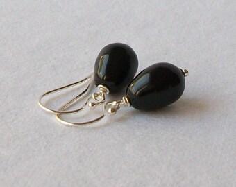 Black Pearl Drop Earrings Wedding Jewelry