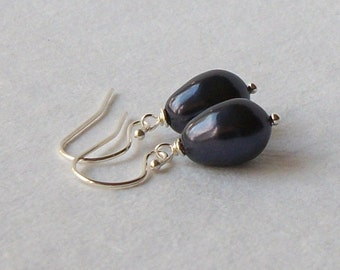 Purple Pearl Drop Earrings Wedding Jewelry Bridesmaid Gift, Gifts under 20