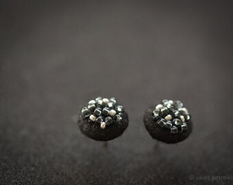 Black earrings - Small round modern studs from felt with metallic glass beads - Shiny post earrings for prom party
