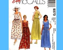 147 McCalls 9373 Womens Raised Waist Sleeveless Pullover Dress size 12-14 Bust 36 Mini Midi Maxi Easy OOP Sewing Pattern Uncut