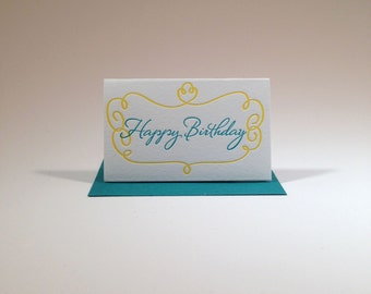 Letterpressed Happy Birthday Gift Enclosure