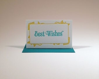 Letterpressed Best Wishes Gift Enclosure- Peacock Blue and Yellow