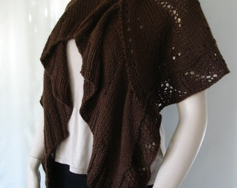 Hand Knitted Cape, Chocolate Brown Cape Shawl, Shawl Sweater, Womans Knitted Shawl, Cape Shawl