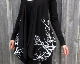 Lavinia Black Branches Drape Hoodie