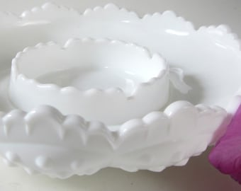 Fenton Milk Glass Crimped Bowl Footed Pedestal Ashtray Rare Embossed Hobnail Scalloped Rim