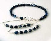 Navy Blue Stone Jewelry Set, Artisan Silver Metalwork Earrings and Bracelet, Gift Set under 50 dollars