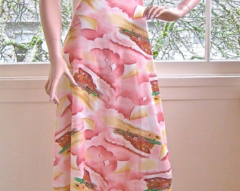 Vintage 1970's Picture Print Flying Kite Maxi Dress with Empire Waist and Bell Sleeves