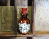 Spider eyes, glass potion bottle, ingredient