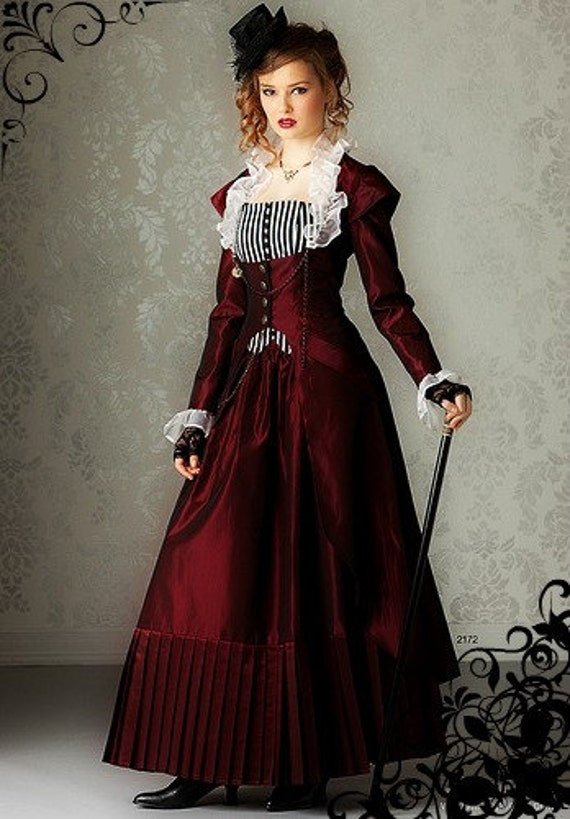Miss Giselle gets dressed-up ~ Victorian Steampunk 3-piece ensemble in dupioni silk ~ skirt bustier and long corset jacket