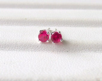Ruby Lab Created Stud Sterling Silver July Birthstone 3mm