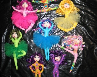 ePattern - Cloth Doll Pattern - Rainbow Dancers - a set of gorgeous hanging dancers to make