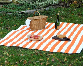 Picnic Blanket- Orange Stripes- Waterproof Picnic Blanket- Eco Friendly, Personalized Gift