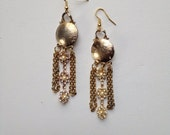 Gold & Rhinestone Fringe Statement Earrings- Heirloom Collection