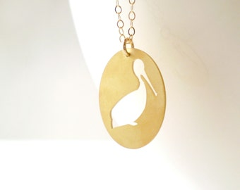 Long Pelican Cameo Necklace, New Orleans Necklace, Pelican Charm