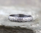 Rustic Floral Pattern Sterling Silver Band - Wedding Bands - Stacking Ring - Nature Inspired Rings - Commitment Rings - Made in Canada