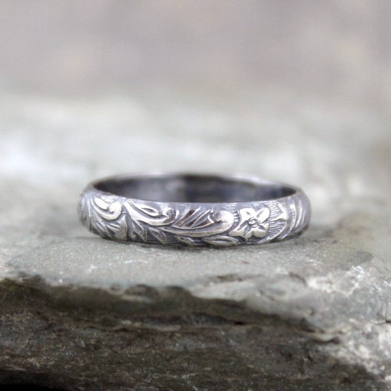 Rustic Floral Pattern Sterling Silver Band Wedding By