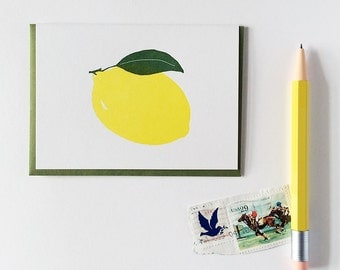 Letterpress Lemon Summer Note Cards Set - The Fruit 6 Hostess Citrus Cards