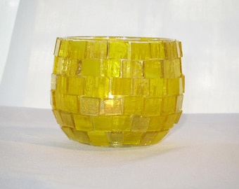 Sunshine Yellow Mosaic Candle Holder - FREE Shipping in the USA