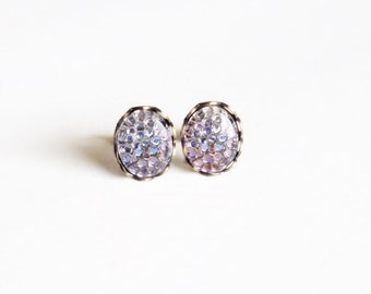 Iridescent Purple Glass Studs Vintage Fish Scale Cabochon Light Purple Post Earrings Hypoallergenic