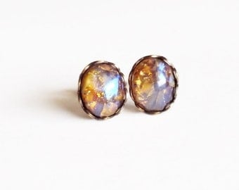 Yellow Opal Stud Earrings Vintage Glass Harlequin Fire Opal Post Earrings Topaz Studs Hypoallergenic Iridescent Glass Jewelry