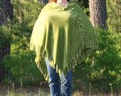Slinky Mink Fleece Poncho - New Leaf Green