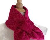 Pink knit scarf - knit keyhole scarf - warm winter scarf - bright pink scarf - knit neckwarmer - knit ascot - knit cowl scarf - unique scarf