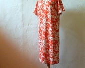 Red Vera Neumann Dress - L - Vintage Knit Casual Floral Day Dress