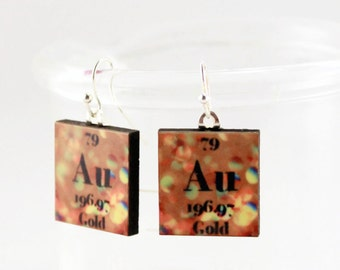 Gold Science Chemistry Earrings - Periodic Table Jewelry Gold Au