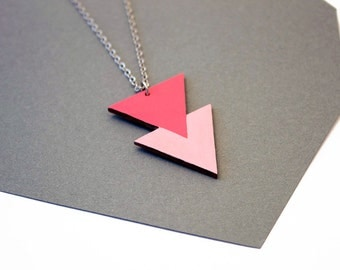 Geometric, double triangle wooden necklace - pink, rose colors - cherry blossom colors