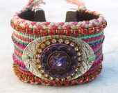 Friendship bracelet cuff, crystal cuff, Swarovski cuff, rhinestone bracelet, bohemian bracelet, hippie cuff, ethnic, OOAK