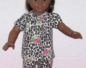 American Girl 18 Inch Doll Clothes Leopard Print  Pajamas Handmade Roses