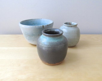 midcentury blue pottery bowl hand thrown clay pot set three studio pots vase jar