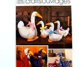 80s Vintage Stuffed Goose Pattern Geese Decorative Craft Pattern Large Small Animal Simplicity 6721 Uncut