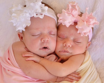 Perfect Princess Starter Set of 2 Medium Double Layered Light Pink and White Double Ruffle Bows with Nylon Headbands