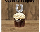 Cowboy Birthday Party - Set of 12 Horseshoe Cupcake Toppers by The Birthday House