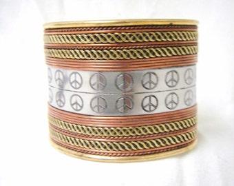 "Vintage Brass Silver Tone Peace Cuff Bracelet 2"""