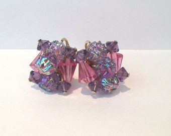 Awesome vintage 60s pink and purple crystal and art glass earrings // mod // mad men style // clip on
