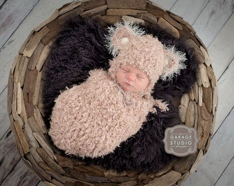 Newborn Teddy  Hat and Swaddle Sack Photo Prop -