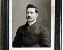 Early 1900s - Man with Moustache. Early Antique Cabinet Card Photograph.