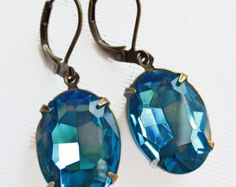 Turquoise Crystal Earrings - Dangle Earrings - Bright Colors - Bridesmaid Gift - CAMDEN Turquoise