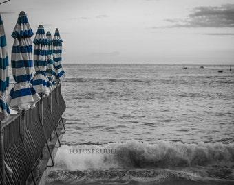 Art Nature Photography Ocean. Mediterranean Stripes. Monterosso, Cinque Terre, Italy Photograph. - 8x12