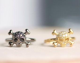 Delicate Cubic Zirconia  Skull Ring in Gold OR Gunmetal, gold skull,black skull