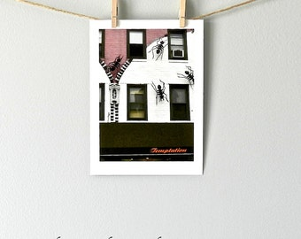 Urban Photography, Ant Art, City Photo, Street Photograph, Pop Art, Bug Print, City Street Photo, Philadelphia, Pink White Black Art, 5x7