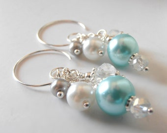 Aqua Earrings Bead Cluster Dangles Spa Bridesmaids Earrings Beaded Wedding Jewelry Sets Blue White Gray Pearl Clusters Bridesmaid Gift
