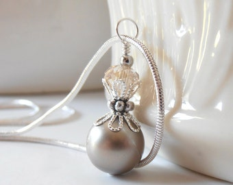 Bridesmaid Necklaces, Platinum Swarovski Pearl Necklace, Taupe Wedding Jewelry Sets, Sterling Silver Chain, Simple Bridesmaid Jewelry