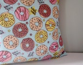 Kawaii Donut Upcycled Teatowel Pillow cover - pastel goth