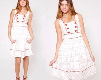 Vintage 80s Sundress Orange CHECKER Print Sleeveless Mini Dress Vintage Apron Dress