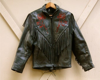 80s vintage Black Leather Fringed  Motorcycle Jacket with Red Roses / Shaf Leather Collections