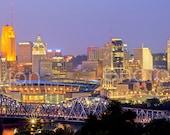 Cincinnati Skyline DUSK Panoramic Photo Print Canvas Cityscape Cincy