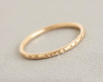 Gold Ring Stacking Ring Gold Thumb Ring notched stack rings gold jewelry